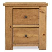Coleridge Rustic Bedside Table - 2 Drawer | Funky Chunky Furniture